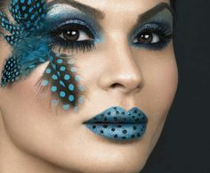 Exotic Blue theatre makeup & polka dot lips