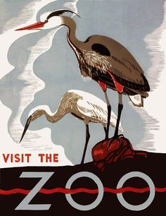 Two herons promote the zoo as a place to visit in this woodblock Federal Art Project poster from Pennsylvania. Created between 1936 and 1941.
