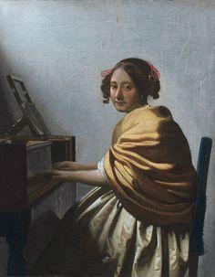 Jan Vermeer Giovane donna seduta al virginale 1670–1672 25 cm x 20 cm Olio su tela  Collezionismo d'arte, Wynn Las Vegas