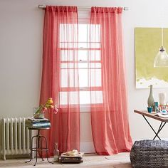 Sheer Linen Curtain: Coral Rose. west elm. $49.99. One option is to purchase blackout roman shades (in white), and dress up the window with some panels. I suggest this coral solid linen curtain if you decide to go with a patterned sleeper sofa.