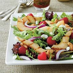 Grilled Pear Salad | Grilled pears, raspberries, basil, and goat cheese
