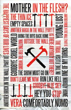 Pink Floyd The Wall Typography Art Poster by jasonleesmithtn