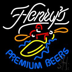 Henrys Premium Beers Neon Sign 24 Tall x 24 Wide x 3 Deep, is 100% Handcrafted with Real Glass Tube Neon Sign. !!! Made in USA !!!  Colors on the sign are White, Red, Orange, Yellow and Blue. Henrys Premium Beers Neon Sign is high impact, eye catching, real glass tube neon sign. This characteristic glow can attract customers like nothing else, virtually burning your identity into the minds of potential and future customers.