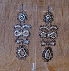 "Mexican Silver filagree Pearl Wedding earrings - Vintage Frida Style - Lrg 3 3/4"" drop/$345"