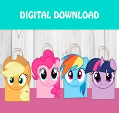 PACK 4 COVERS FOR BAGA - MY LITTLE PONNY 4 PDF FILES FOR BAGS SIZE 5.25 X 8.5. INSTANT DOWNLOAD. My Little Pony Cumpleaños, Fiesta Little Pony, Cumple My Little Pony, Little Poney, Cumpleaños Rainbow Dash, Rainbow Dash Birthday, My Little Pony Birthday Party, 4th Birthday Parties, Pig Party