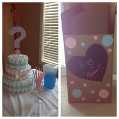 Gender reveal diaper cake and balloon box