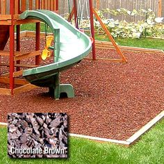Kidwise Playground 1/2 Pallet Rubber Mulch - Chocolate Brown  For Corbyns Rainbow playscape