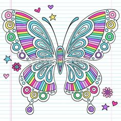 Rainbow Butterfly Notebook Doodles Vector Illustration by blue67 - Stock Vector