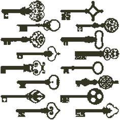 Antique Keys Blackwork Easy Cross Stitch Pattern   eBay