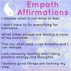 | FREE Empath Tools and Resources Empath Traits, Intuitive Empath, Psychic Empath, Positive Affirmations Quotes, Affirmation Quotes, Chakra Affirmations, Empath Abilities, Les Sentiments, Self Help