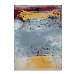 """Trademark Art """"The Gray Yellow and Red One"""" by Nicole Dietz Painting Print on Wrapped Canvas Size:"""