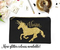 347b115118 Unicorn Make-Up Bag Gold Glitter Personalized Name Cosmetic Lined Pouch  Christmas Gift Stocking Stuffer