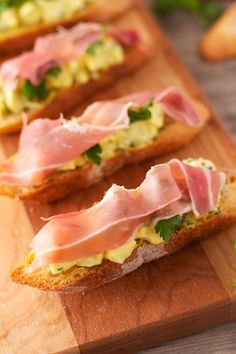 Pickled Egg Salad Crostini with Prosciutto - dang that's delicious