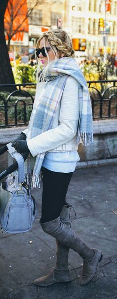 Oversized Light Plaid Grey Knee Boots and pale blue!