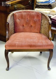 How to Reupholster a Cane Chair with Tufted Back - I have the perfect chair just sitting in my front room
