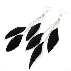 Black Tassel Feather Earrings #Black #Fashion #Jewelry #Party