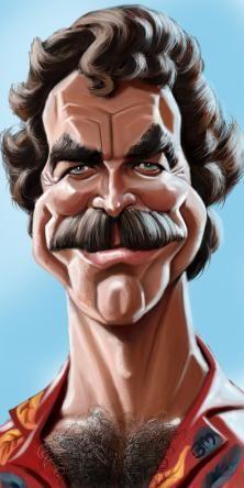 Tom Selleck by Bruno Munier Tom Selleck, Cartoon Faces, Funny Faces, Cartoon Art, Funny Caricatures, Celebrity Caricatures, Famous Cartoons, Funny Cartoons, Munier