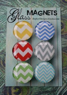 Glass Magnets - In Love With Chevron. $8.00, via Etsy. for glass, magnets, adhesive: http://www.ecrafty.com/c-81-craft-supplies.aspx