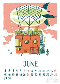 Houses Calendar - Anine Illustration