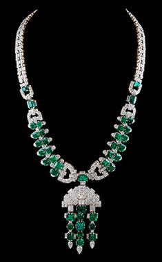 Platinum Diamond & Emerald Necklace