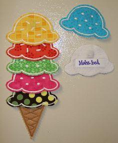 Adorable felt/fabric ice cream cone chore chart idea
