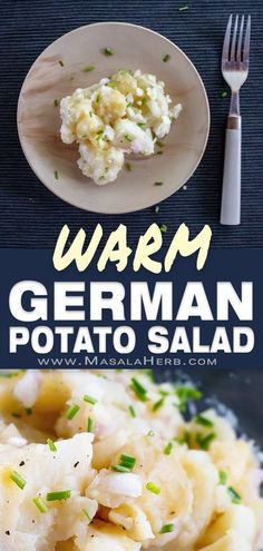 Authentic German Potato Salad Recipe [Bavarian], warm potato salad from south Germany state of Bavaria province Swabia. Popular all year round salad in the regions even across borders. Serve with meat rouladen, schnitzel, pork roast, sausages, dumplings, fish, bbq as a salad side dish. traditional potato salad with few ingredients with oil and vinegar dressing and chive garnish. hot german potato salad, old-fashioned, traditional, homemade family salad. www.MasalaHerb.com Salad Vinegar, Vinegar Dressing, Vegetable Side Dishes, Side Dishes Easy, Authentic German Potato Salad, Warm Potato Salads, Pork Schnitzel, German Potatoes