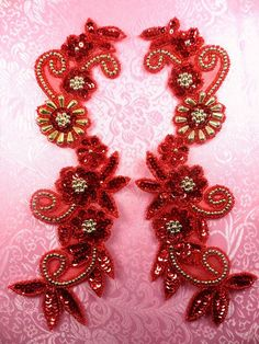 "0183 Appliques Red and Gold Mirror Pair Sequin Beaded 10""  (0183X-glrd2)"