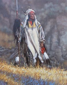 """""""Four Bears the Mandan"""" 30 x 24 o/c Four Bears is the English translation of Mato-Tope. Besides being a fierce and respected warrior chief, he also was an enthusiastic artist and watched Karl Bodmer and George Catlin closely while they painted. A man after my own heart.➳ʈɦuɲɖҽɽwσℓʄ➳"""