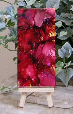 Alcohol ink painting on tile abstract fushia by twocooltexans