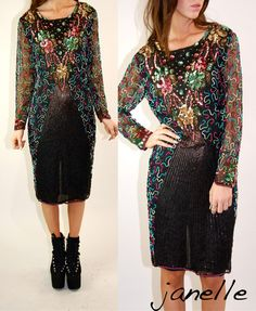 80s Sequin Dress. Love this for the color mix  and sequin/beaded patterns.