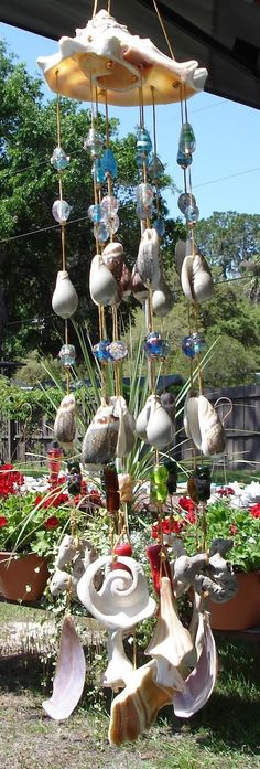 Shell and Glass Bead Wind Chime Sun Catcher in the Sun!