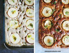 Elmalı ve biberiyeli focaccia