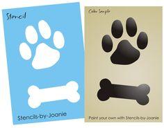 "Dog STENCIL 4"" Paw Print Bone You Paint Puppy Pet Animal Kennel Signs Craft Art #DesignsbyJoanie"