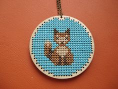 Mr Fox. Wooden cross stitch pendant. Woodland by cupcakecutie1, $35.00