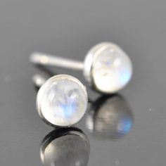 Moonstone earrings stud earrings june birthstone by JubileJewel, $30.00