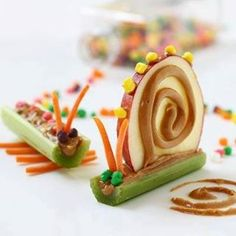 Fun and yummy snacks: my mother always said dont play with your food but if it means kids eating vegetables o well