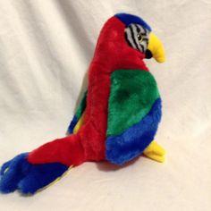 Vintage 90s Ty Beanie Buddy Buddies Jabber Parrot Tropical Bird Plush Stuffed #ty