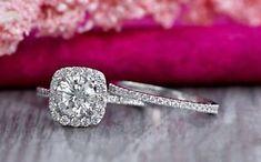 a certified 275 ct round cut diamond halo engagement wedding ring 14k white gold #weddingring