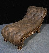 FINE HAND CARVED WOOD AND LEATHER CHAISE LOUNGE
