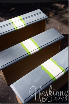 How to paint stripes on furniture DIY by Unskinny Boppy