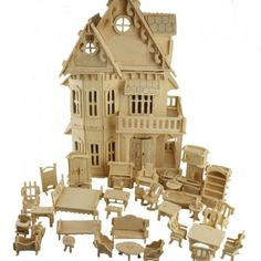 Dollhouse with min furniture set - Natural