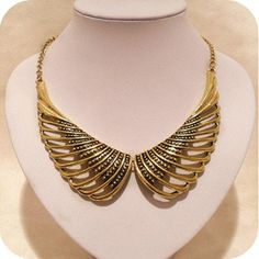 Retro exaggerated hollow wings necklace short necklaces,shop at Costwe.com