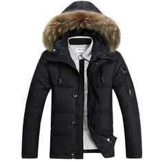 Buy Winter Mens Thick Duck Down Coat White Duck Down With Fur Hood Parka Male Solid Color Zipper Duck Down Jackets Outwear Coat Mens Down Jacket, Duck Down Jacket, Men's Jacket, Mens Winter Coat, Winter Jackets, Winter Overcoat, Winter Coats, Mens Fashion, Winter