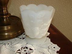 BRODY, Grapes, Milk Glass, Paneled Compote, Vintage Glass, Pedestal Vase, White Glass by BackStageVintageShop on Etsy
