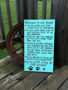 Hey, I found this really awesome Etsy listing at https://www.etsy.com/listing/205649718/wooden-dog-sign-pet-rules-for-the-home