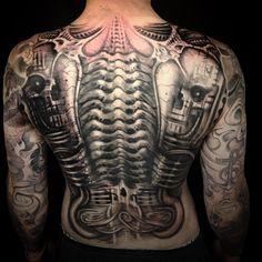 Back Metal Skulls - Biomechanical Tattoo