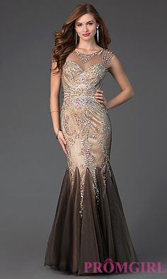 Jewel Embellished Floor Length Dress at PromGirl.com