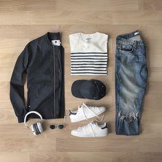 3627246c ___ T-Shirt: Breton Stripe Bomber: Denim: Shoes: Stan Smith Hat:  Sunglasses: Headphones: