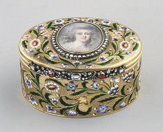 Snuffbox with portrait of a woman, said to be the Princesse de Lamballe.  Artist: Miniature by French Painter , ca. 1790 Date: 19th century Culture: European Medium: Gold, enamel, diamonds; ivory