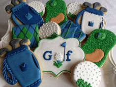Golf themed cookies~      No source, green, white golf ball, golf clubs,